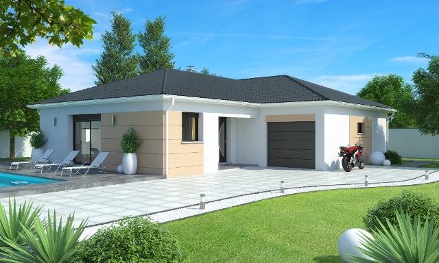 maison individuelle plain pied contemporaine aigue marine slci mod le maison rh ne alpes. Black Bedroom Furniture Sets. Home Design Ideas