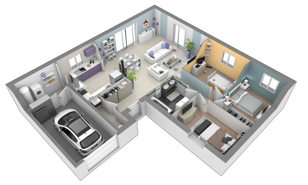 Maison individuelle plain pied contemporaine ciel de mai slci mod le maison rh ne alpes for Plan interieur maison 3 chambres