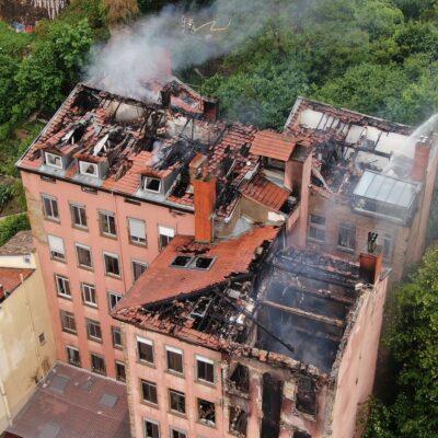 Incendie d'un immeuble montée Bonafous dans le 4e arrondissement de Lyon